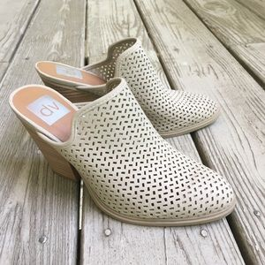 Perforated taupe mules—DV by Dolce Vita